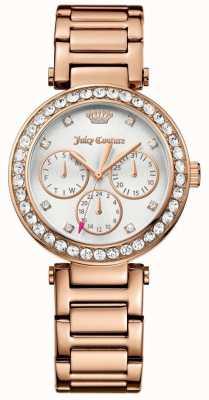 Juicy Couture cali mujer se levantaron de acero inoxidable reloj de plata de tono de oro 1901505
