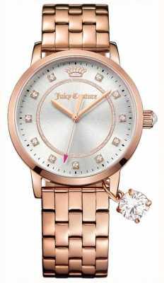 Juicy Couture Para mujer de la alta sociedad se levantó de acero inoxidable reloj de plata de tono de oro 1901476