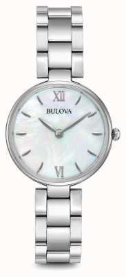 Bulova Para mujer madre brazalete de acero inoxidable de la línea de perlas 96L229