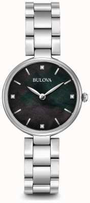 Bulova Pulsera de las mujeres de acero inoxidable madre negro de la línea de perlas 96S173