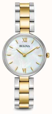 Bulova Para mujer madre de dos tonos pulsera de la perla de línea 98L226