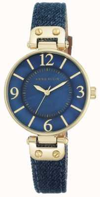 Anne Klein Correa azul de la tela de la mujer azul dial 10/N9168BMDD