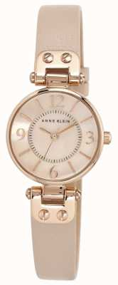 Anne Klein Correa de cuero crema para mujer rose gold tone case 10/N9442RGLP