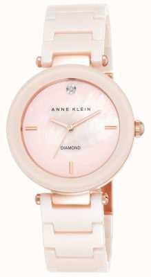 Anne Klein Correa rosa de cerámica para mujer rosa madre de la perla marcar AK/N1018PMLP