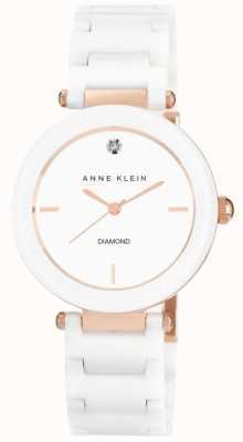 Anne Klein Correa de cerámica blanca para mujer, esfera blanca AK/N1018RGWT
