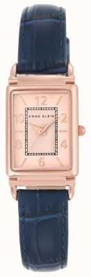 Anne Klein Dial de oro rosa con correa de cuero para mujer AK/N2394RGNV