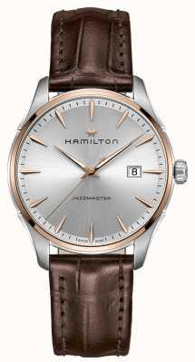 Hamilton Hombres jazzmaster marrón correa de cuero plata dial H32441551
