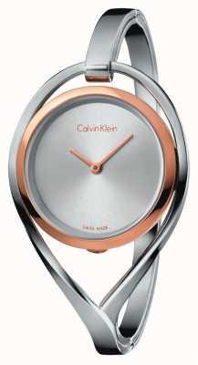Calvin Klein Caja ligera de oro rosa de brazalete de acero inoxidable para mujer K6L2SB16