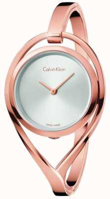 Calvin Klein Mujeres luz pequeña rosa tono de oro esfera de plata K6L2S616