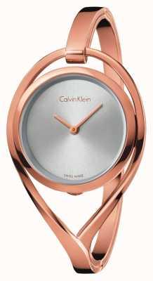 Calvin Klein Para mujer de mediana rosa pálido tono de marcar la plata del brazalete de oro K6L2M616