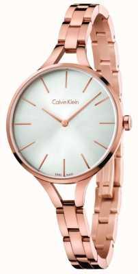 Calvin Klein Womens gráfico rosa de oro tono pulsera esfera de plata K7E23646