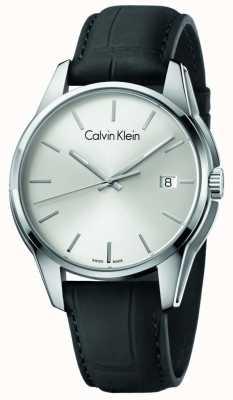 Calvin Klein Tono de hombre de cuero negro correa de plata dial K7K411C6