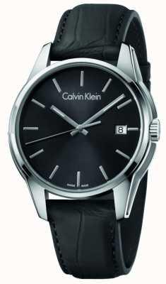 Calvin Klein Mens tono correa de cuero negro esfera negra K7K411C1