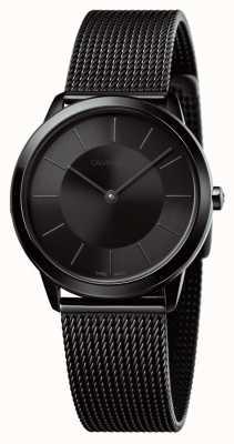 Calvin Klein Mujeres negro malla de malla negra dial negro K3M224B1