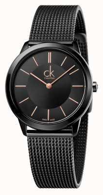 Calvin Klein Correa de malla negra mínima para mujer K3M22421