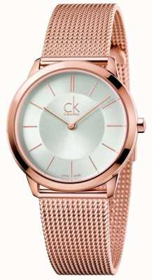 Calvin Klein Mujeres de oro rosa minimalista malla de plata dial K3M22626