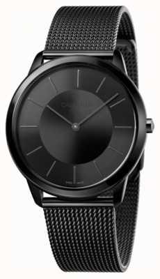 Calvin Klein Hombres negro malla malla negra dial negro K3M214B1