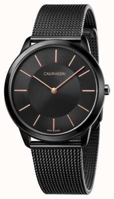 Calvin Klein Correa de malla negra mínima para hombre K3M21421