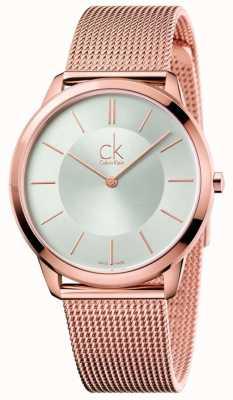 Calvin Klein Mens oro rosa minimalista tono de malla de plata dial K3M21626