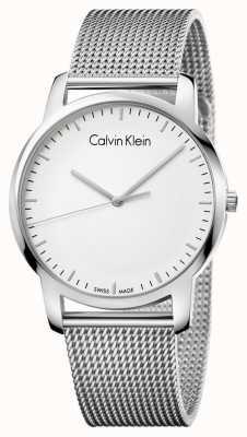 Calvin Klein Hombres de ciudad de acero inoxidable malla de correa de plata dial K2G2G126