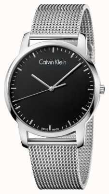 Calvin Klein Hombres de ciudad de acero inoxidable malla de correa de dial negro K2G2G121
