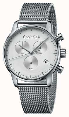 Calvin Klein Mens ciudad cronógrafo de acero inoxidable esfera blanca K2G27126