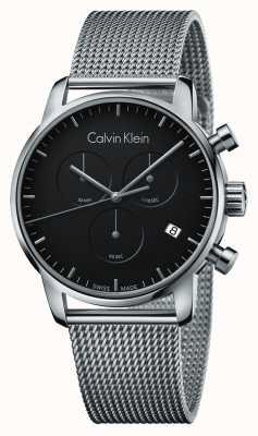 Calvin Klein Mens cronógrafo de la ciudad de acero inoxidable dial negro K2G27121