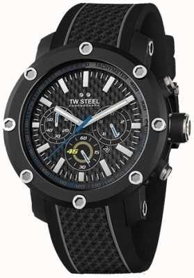 TW Steel Para hombre del cronógrafo del dial negro correa de caucho negro TW937