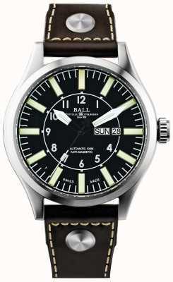 Ball Watch Company Hombre ingeniero maestro ii compañía aviador cuero automático NM1080C-L3-BK
