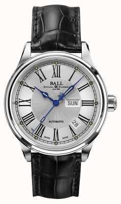 Ball Watch Company Trainmaster roman automático correa crockodile esfera blanca NM1058D-L4J-WH