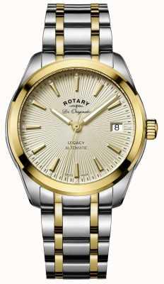 Rotary legado para mujer esfera de oro de acero inoxidable de dos tonos automática LB90166/03