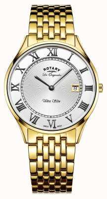 Rotary esfera blanca de acero inoxidable para hombre dorado ultra delgado GB90803/01