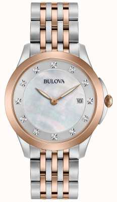 Bulova Womans Rose plateado de dos diamantes tono 98S162