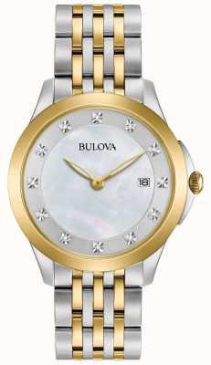 Bulova Womans chapado en oro de dos tonos de diamantes 98S161