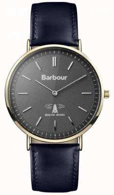Barbour Para hombre de la correa de cuero negro esfera de color negro Hartley BB055GDBL