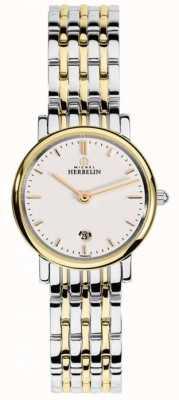 Michel Herbelin Womans dos correas tono de marcado índice de blanco 16945/BT11
