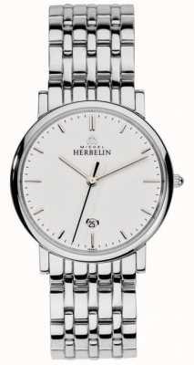 Michel Herbelin Hombres de acero inoxidable de malla de plata 12543/B11
