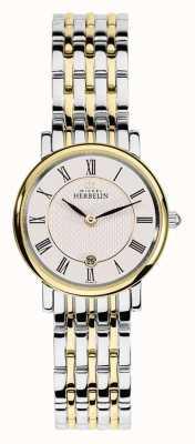 Michel Herbelin La mujer de acero inoxidable correa de plata del oro en dos tonos 16945/BT01