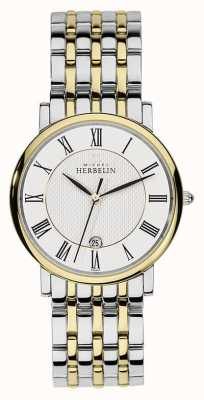 Michel Herbelin Hombres de acero inoxidable correa de oro dos tonos de plata 12543/BT01