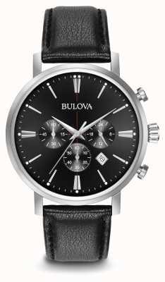 Bulova correa de cuero negro del cronógrafo de los hombres 96B262