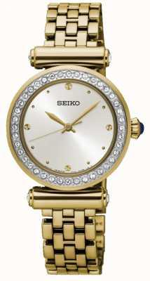 Seiko Chapado en oro para mujer esfera blanca de acero SRZ468P1