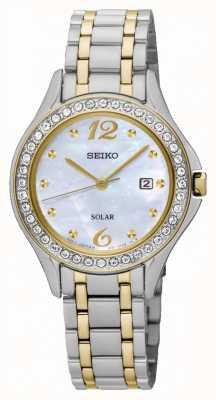 Seiko Para mujer madre solar de la línea de perlas SUT312P9