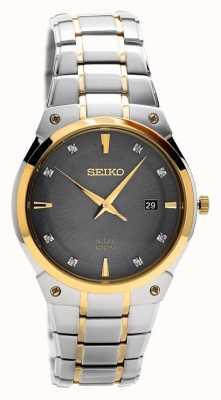 Seiko Mens esfera gris de acero inoxidable solar SNE430P9
