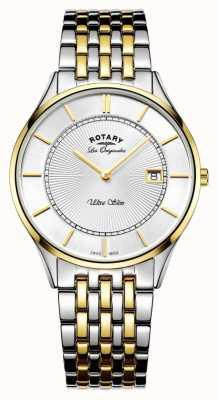 Rotary Mens dos tono pulsera ultra delgado GB90801/02