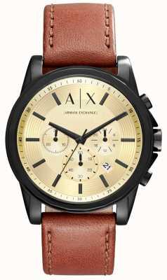 Armani Exchange correa de cuero marrón para hombre del cronógrafo AX2511