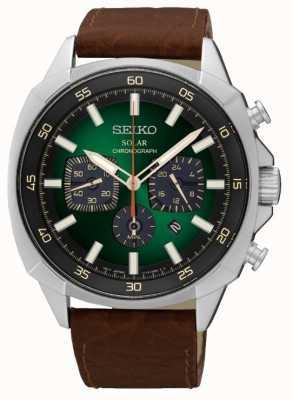 Seiko Para hombre de la correa de cuero con energía solar reflectante de línea verde SSC513P9