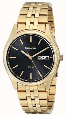 Seiko Mens oro plateado solar día de la fecha SNE044P9