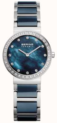 Bering de acero inoxidable de cerámica azul de Womans 10729-707