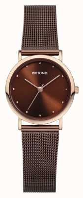 Bering correa de malla de acero inoxidable de color marrón Womans 13426-265