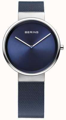 Bering Unisex correa de malla de hierro azul acero chapado 14531-307